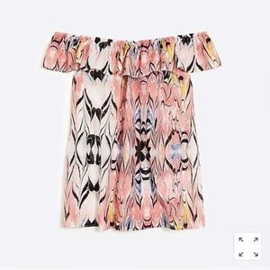 • J. Crew Ruffle Printed Off The Shoulder Top •